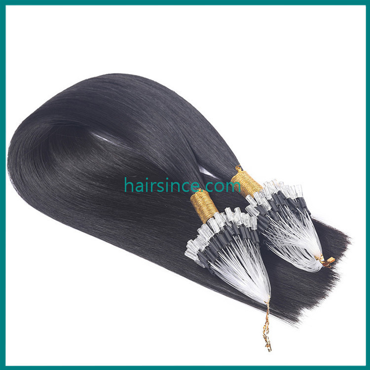 Popular hot style micro ring hair extensions natural remy black color human hair extensions