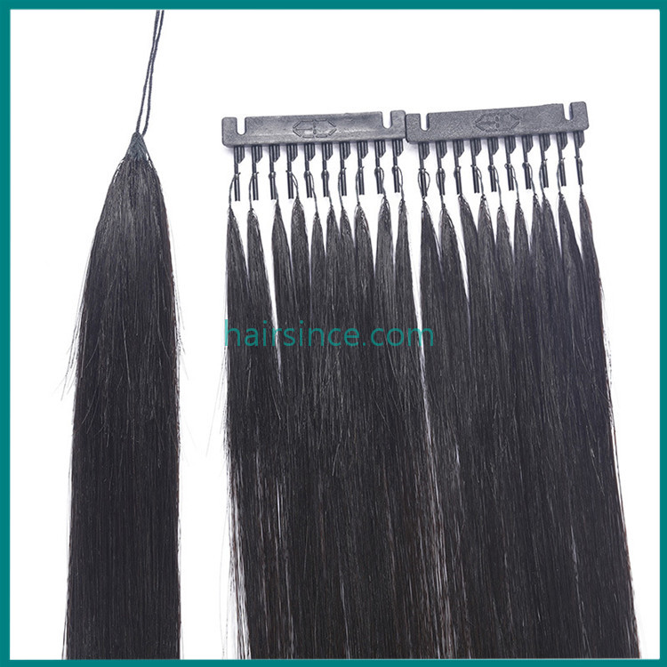 100% real human hair extensions feather style handtied hair extensions from factory