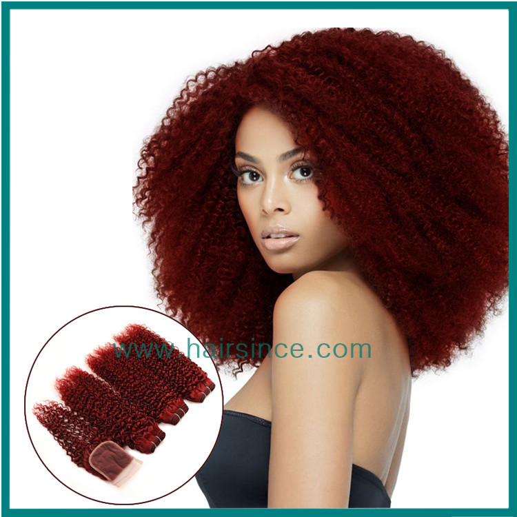 Brazilian hair 4 bundles with closure Kinky Curly color 99J weft+closure