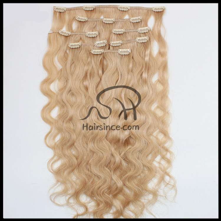 Full head human hair clips in hair body wave blonde 613 clips on hair extension