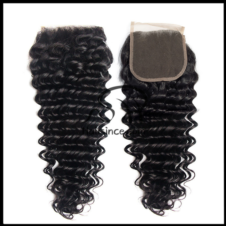 Swiss lace top closure Brazilian hair deep wave top closure