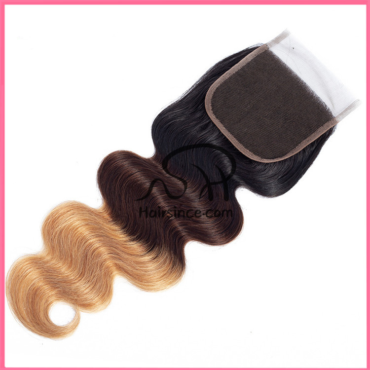 4*4 Brazilian hair lace closure body wave #1B/4/27 Swiss lace closure