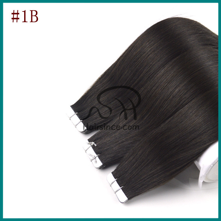 Full head jet black Indian virgin remy hair tape in hair extensions