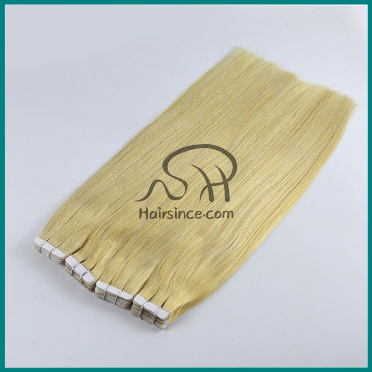 Russian virgin blonde hair tape in hair extensions