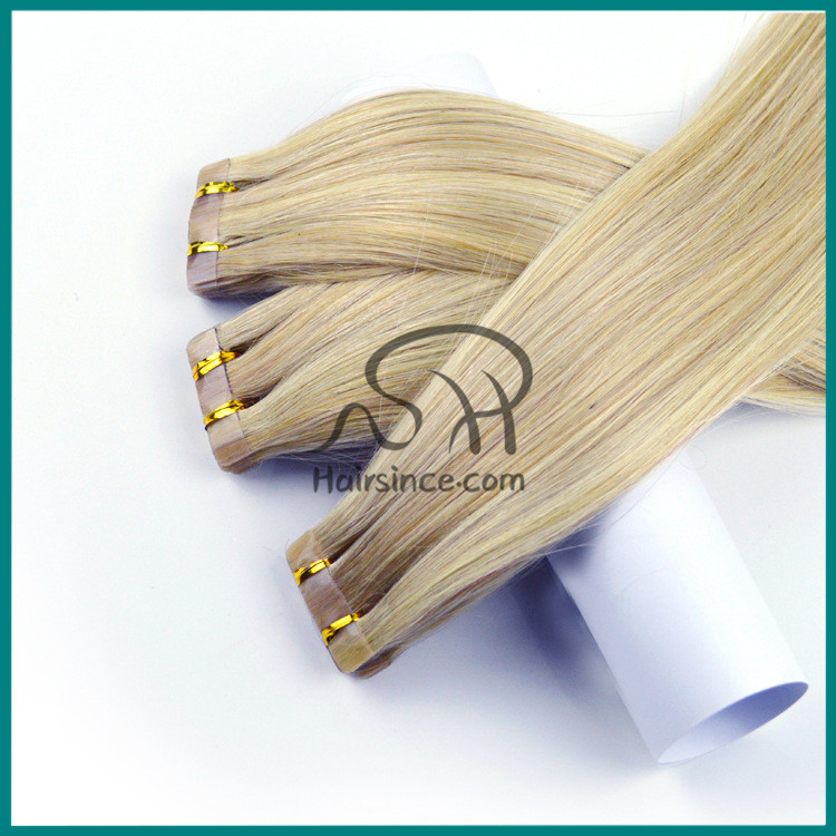 Ombre color double sided virgin Brazilian hair tape in hair extensions