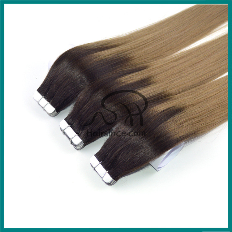 Natural long hair Brazilian hair double drawn T-color human hair tape in hair extension