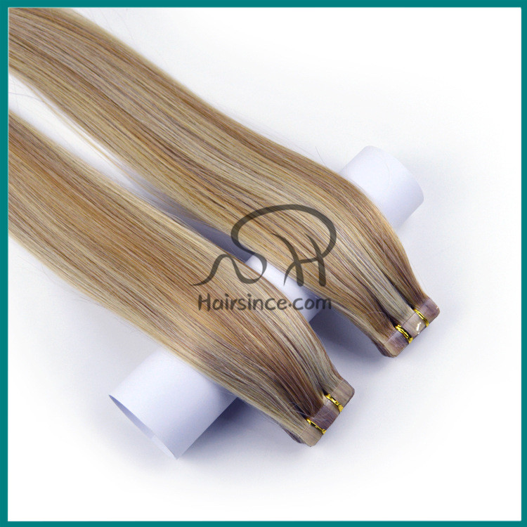 8A grade European remy hair tape in hair extensions piano color tape on hair extensions