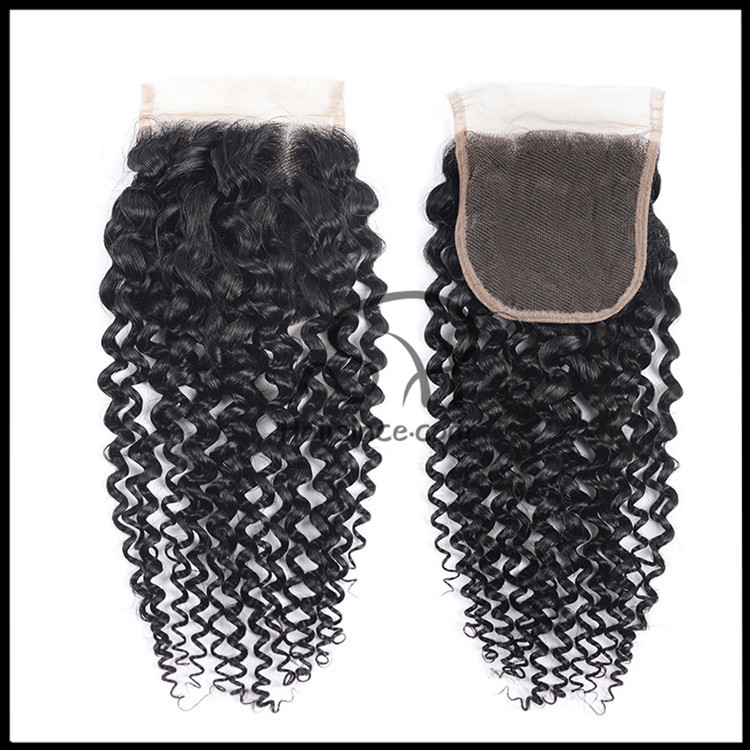 10A grade Brazilian hair lace closure 4*4 kinky curly remy hair closure