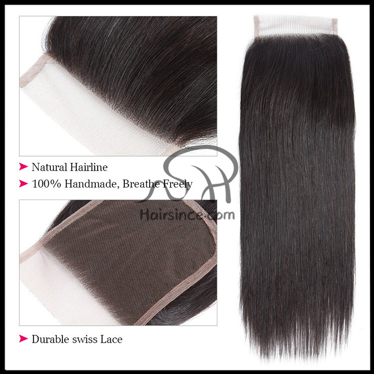 Top grade double drawn human hair lace closure 100% handmade top closure