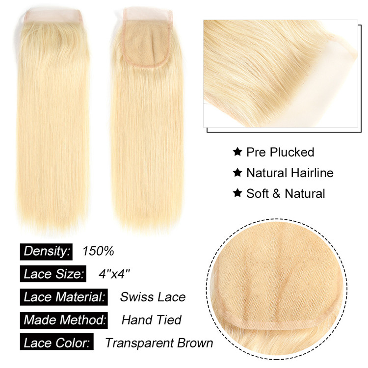 Blonde color Brazilian hair lace closure #613 Swiss lace top closure