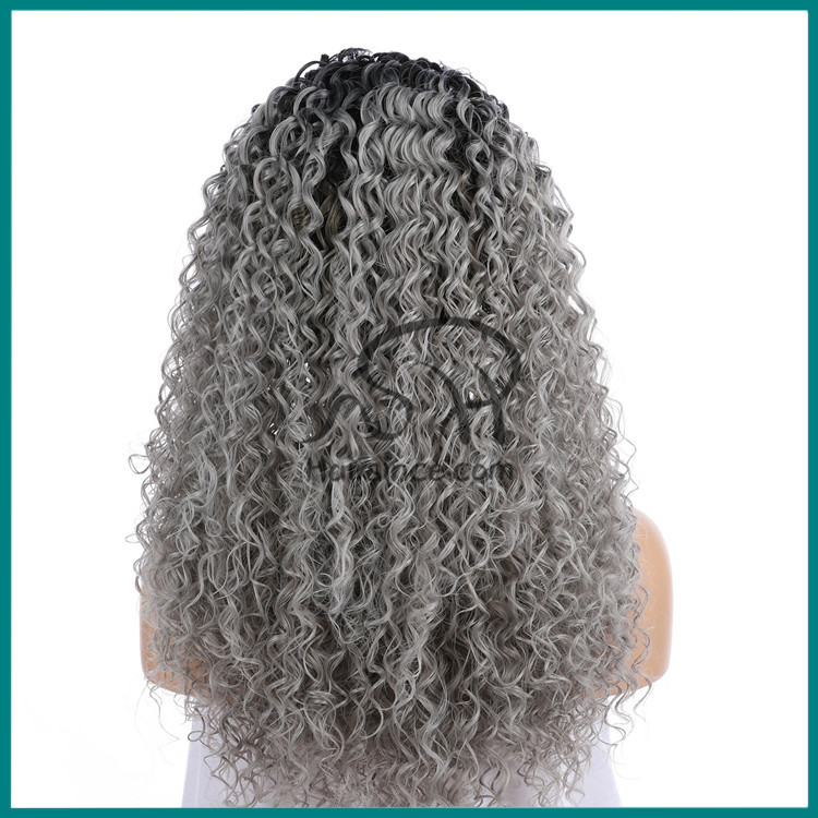 Beautiful curly synthetic hair wig ombre grey silk fiber lace front wig China vendor wigs