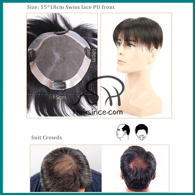 Stock toupee 100% human hair Swiss lace base PU around toupee
